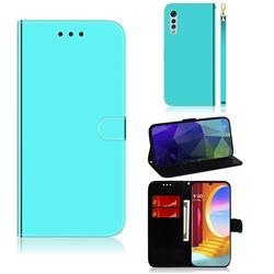 Shining Mirror Like Surface Leather Wallet Case for LG Velvet 5G (LG G9 G900) - Mint Green