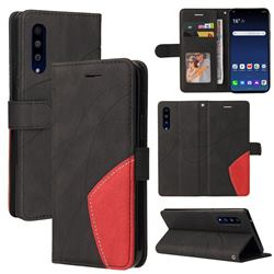 Luxury Two-color Stitching Leather Wallet Case Cover for LG Velvet 5G (LG G9 G900) - Black