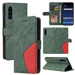 Luxury Two-color Stitching Leather Wallet Case Cover for LG Velvet 5G (LG G9 G900) - Green