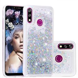 Dynamic Liquid Glitter Quicksand Sequins TPU Phone Case for LG W10 - Silver
