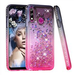 Diamond Frame Liquid Glitter Quicksand Sequins Phone Case for LG W10 - Gray Pink
