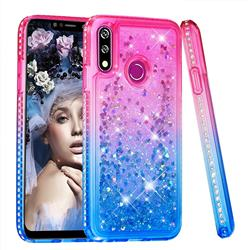 Diamond Frame Liquid Glitter Quicksand Sequins Phone Case for LG W10 - Pink Blue