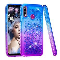 Diamond Frame Liquid Glitter Quicksand Sequins Phone Case for LG W10 - Blue Purple
