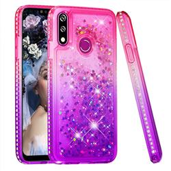 Diamond Frame Liquid Glitter Quicksand Sequins Phone Case for LG W10 - Pink Purple
