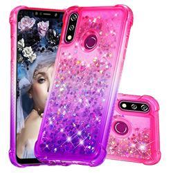 Rainbow Gradient Liquid Glitter Quicksand Sequins Phone Case for LG W10 - Pink Purple