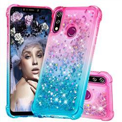 Rainbow Gradient Liquid Glitter Quicksand Sequins Phone Case for LG W10 - Pink Blue