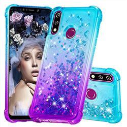 Rainbow Gradient Liquid Glitter Quicksand Sequins Phone Case for LG W10 - Blue Purple