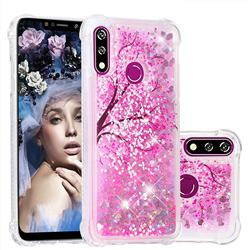 Pink Cherry Blossom Dynamic Liquid Glitter Sand Quicksand Star TPU Case for LG W10