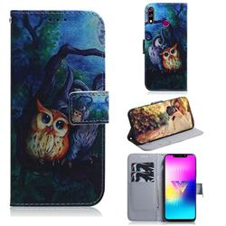 Oil Painting Owl PU Leather Wallet Case for LG W10