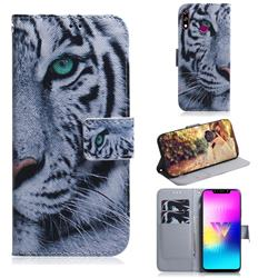 White Tiger PU Leather Wallet Case for LG W10