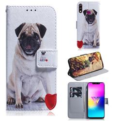 Pug Dog PU Leather Wallet Case for LG W10