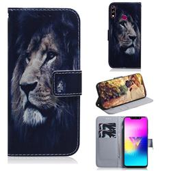 Lion Face PU Leather Wallet Case for LG W10