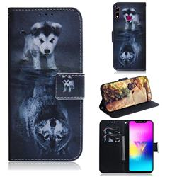 Wolf and Dog PU Leather Wallet Case for LG W10