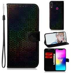 Laser Circle Shining Leather Wallet Phone Case for LG W10 - Black