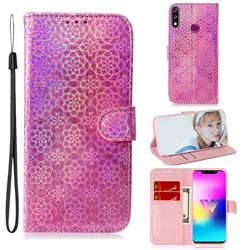 Laser Circle Shining Leather Wallet Phone Case for LG W10 - Pink
