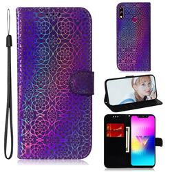 Laser Circle Shining Leather Wallet Phone Case for LG W10 - Purple