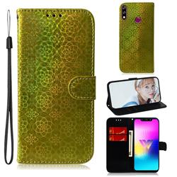 Laser Circle Shining Leather Wallet Phone Case for LG W10 - Golden