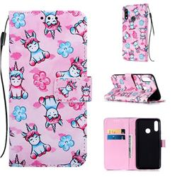 Unicorn and Flowers Matte Leather Wallet Phone Case for LG W10