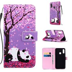 Cherry Blossom Panda Matte Leather Wallet Phone Case for LG W10