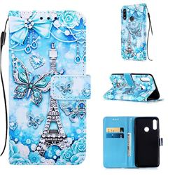 Tower Butterfly Matte Leather Wallet Phone Case for LG W10