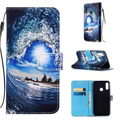 Waves and Sun Matte Leather Wallet Phone Case for LG W10