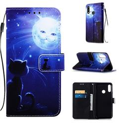 Cat and Moon Matte Leather Wallet Phone Case for LG W10