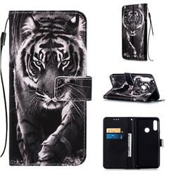 Black and White Tiger Matte Leather Wallet Phone Case for LG W10