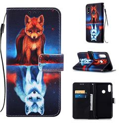Water Fox Matte Leather Wallet Phone Case for LG W10