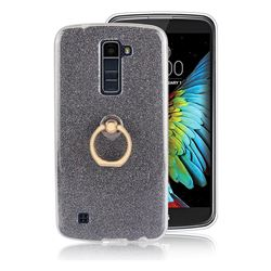 Luxury Soft TPU Glitter Back Ring Cover with 360 Rotate Finger Holder Buckle for LG K10 K420N K430DS K430DSF K430DSY - Black