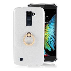 Luxury Soft TPU Glitter Back Ring Cover with 360 Rotate Finger Holder Buckle for LG K10 K420N K430DS K430DSF K430DSY - White