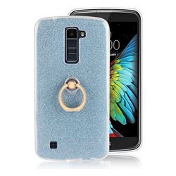 Luxury Soft TPU Glitter Back Ring Cover with 360 Rotate Finger Holder Buckle for LG K10 K420N K430DS K430DSF K430DSY - Blue