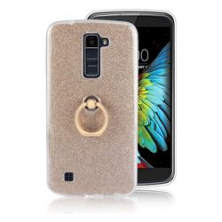 Luxury Soft TPU Glitter Back Ring Cover with 360 Rotate Finger Holder Buckle for LG K10 K420N K430DS K430DSF K430DSY - Golden