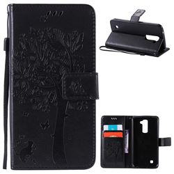Embossing Butterfly Tree Leather Wallet Case for LG K10 - Black