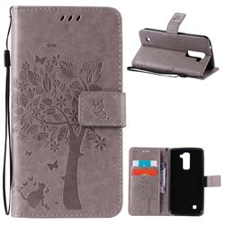 Embossing Butterfly Tree Leather Wallet Case for LG K10 - Grey