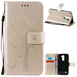 Embossing Butterfly Tree Leather Wallet Case for LG K10 - Champagne