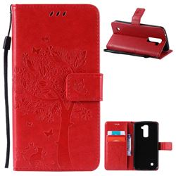 Embossing Butterfly Tree Leather Wallet Case for LG K10 - Red