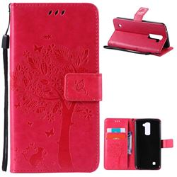 Embossing Butterfly Tree Leather Wallet Case for LG K10 - Rose