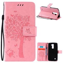 Embossing Butterfly Tree Leather Wallet Case for LG K10 - Pink