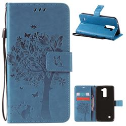 Embossing Butterfly Tree Leather Wallet Case for LG K10 - Blue