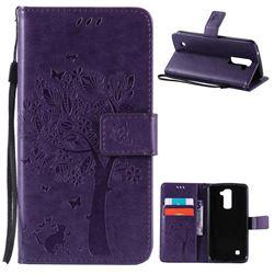 Embossing Butterfly Tree Leather Wallet Case for LG K10 - Purple