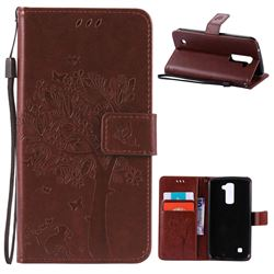 Embossing Butterfly Tree Leather Wallet Case for LG K10 - Brown