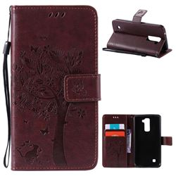 Embossing Butterfly Tree Leather Wallet Case for LG K10 - Coffee
