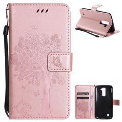 Embossing Butterfly Tree Leather Wallet Case for LG K10 K420N K430DS K430DSF K430DSY - Rose Pink