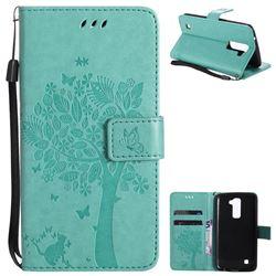 Embossing Butterfly Tree Leather Wallet Case for LG K10 K420N K430DS K430DSF K430DSY - Cyan