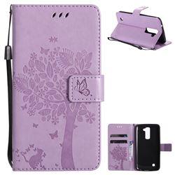 Embossing Butterfly Tree Leather Wallet Case for LG K10 K420N K430DS K430DSF K430DSY - Violet