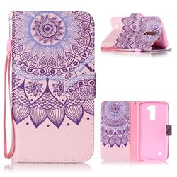 Purple Sunflower Leather Wallet Phone Case for LG K10