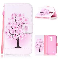 Peach Flower Leather Wallet Phone Case for LG K10