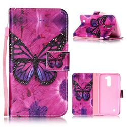 Black Butterfly Leather Wallet Phone Case for LG K10