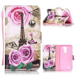 Rose Eiffel Tower Leather Wallet Phone Case for LG K10