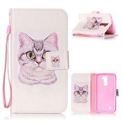 Lovely Cat Leather Wallet Phone Case for LG K10
